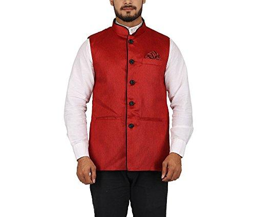 RIYA FASHION Men's Bandhgala Festive Vest Waist Coat Nehru Jacket Achkan Fabric...