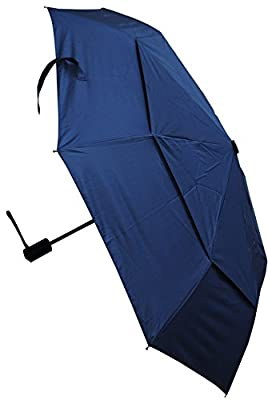 COLLAR AND CUFFS LONDON - Windproof STRONG StormProtector Compact Folding Umbrella - Vented Double Canopy - HIGHLY ENGINEERED TO COMBAT INVERSION DAMAGE - Auto Open Close - Small - Navy Blue