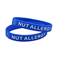 X2 Blue Nut Allergy Medical Alert Silicone Wristbands Bracelet Kids Adult Wristband (Gift Box Goodies) UK Seller