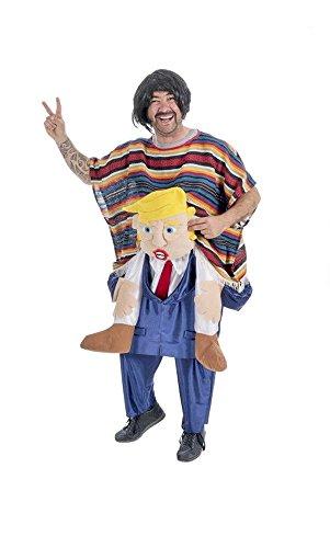 D's Kostüm Nine (Präsident trägt Mexikaner Huckepack Kostüm - Lustige, politisch aktuelle Verkleidung für)