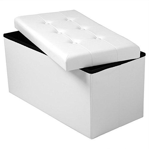 Woltu sh16ws sgabello sedia a cubo pouf pieghevole poggiapiedi contenitore con coperchio rimovibile ecopelle bianco
