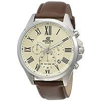 Casio Edifice Men's Cream Dial Leather Band Watch - EFV-500L-7AVUDF