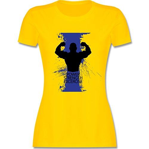 CrossFit & Workout - Power Strength Exercise - tailliertes Premium T-Shirt mit Rundhalsausschnitt für Damen Gelb