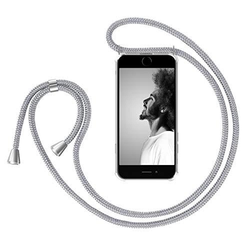 """ZhinkArts Handykette kompatibel mit Apple iPhone 7 Plus / 8 Plus - 5,5\"""" Display - Smartphone Necklace Hülle mit Band - Schnur mit Case zum umhängen in Weiß - Silber"""