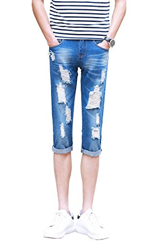 Mens Stretch Cotton Pirate Short Jeans Stone Washed (56,Blu chiaro)