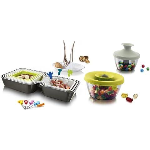 VacuVin 2889160 - Set regalo per feste, con ciotoline per snack, schiaccianoci e forchettine