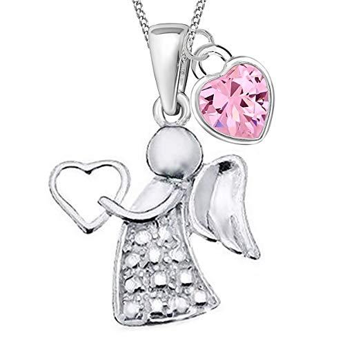 Herz Zirkonia Schutzengel Anhänger + 40cm Kette 925 Echt Silber Kinder Mädchen Engel Taufe (1) CZ Rosa)