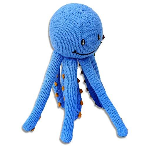 des Kuscheltier Krake, Blau/Orange, Oktopus, Tintenfisch, 23cm, Bio-Baumwolle, Fairer Handel, perfekt für kleine Baby-Hände ()