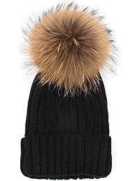 Amazon.es  gorros de lana con pompon de pelo - Mujer  Ropa f3da8e55e15d