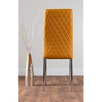 Furniturebox UK Milan 4/6 Modern Stylish Chrome Hatched Diamond Faux Leather Dining Chairs Seats Set (6x Mustard Yellow Chairs)