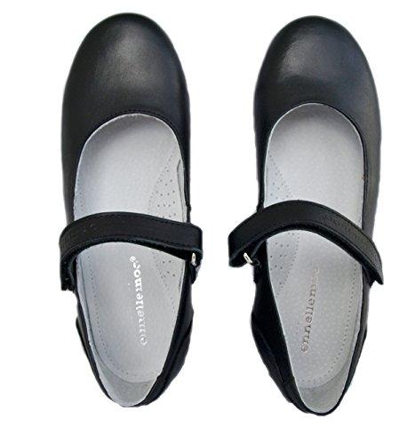 Mädchen-Kinder-Ballerinas-echt Leder-Schuhe-Halbschuhe-Pumps-Slipper-Klettverschluss-Vollederschuhe für Schule-Kommunion-Konfirmation-Fest-Hochzeit.Premiumschuhe aus Vollleder! Schwarz