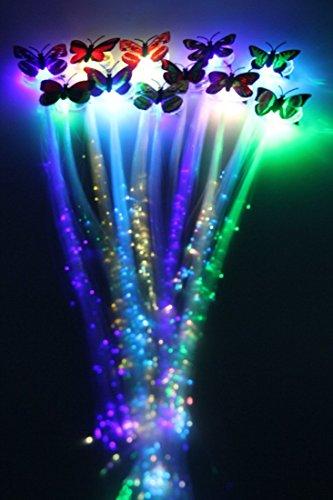 Aufleuchten Faser Optisch LED Haar Lichter - Multicolor Flashing Barette Regenbogen Farben (Alternating Multicolors) Partei Zubehör (Grün-haar-verlängerung)