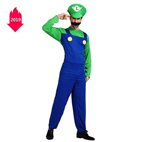 wachsene Super Mario Kleidung Louis Performance Show Dress Up Männer und Frauen,Green,L ()