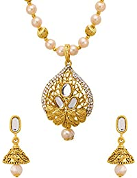 Voylla Traditional Alloy Necklace Sets With Pearl Beads In Yellow Gold Plating For Women