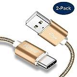 Hunletai Câble USB Type C [Lot de 2/1M] Cable USB C Metal Charge pour Samsung Note 8...