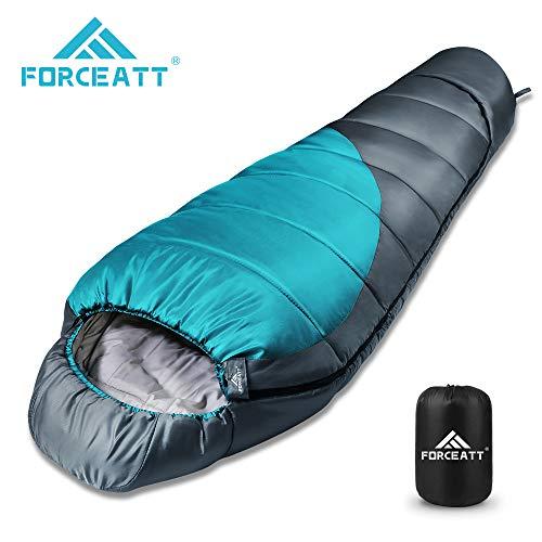 Forceatt Schlafsack Winter, Ultraleichter und Ultrakompakter Mumienschlafsack, -10°C Hüttenschlafsack für Outdoor, Camping and Trekking, Inklusive Kompressionsbeutel,400g/m² Füllung.