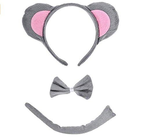 ULTPEAK Kinder Halloween Kostüm Tiere Maus Dalmatiner Stirnband Ohren und Schwanz Set, Party Weihnachten Kostüm (Maus)