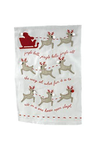 Mudd Pie Geschirrtücher, Weihnachtsmotiv Jingle Bells (Schlitten Mit Pom)