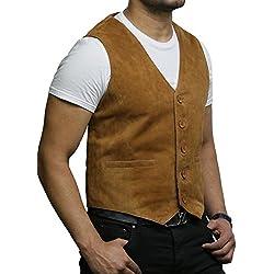 BRANDSLOCK Chaleco de Cuero para Hombre de Smooth Exclusiva Cabra Suede clásico Tan Elegante Chaleco de Cuero (4XL, Broncearse)