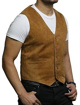Brandslock chaleco de cuero para hombre de Smooth exclusiva cabra suede clásico tan elegante chaleco de cuero