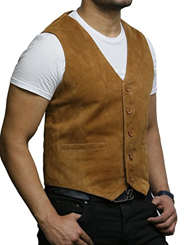 Brandslock Chaleco de Cuero para Hombre de Smooth Exclusiva Cabra Suede clásico Tan Elegante Chaleco de Cuero (Medium, Broncearse)