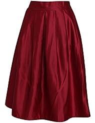 Moollyfox Color Solido De La Moda Retro Mujeres Llenas Plisadas Faldas Midi Ol Rojo