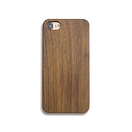 Skitic vero legno custodia case per iphone 7, natura solid wood back cover con hard pc bumper protettiva caso protezione copertura per iphone 7 - noce