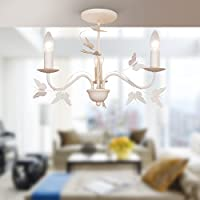 Modern Cream 3 Light Ceiling Fitting with Butterfly Design - Bedroom, Lounge, Teenager's Room from First Choice Lighting