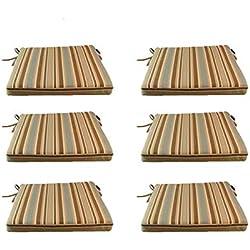 Pack 6 cojines para sillas y sillones de jardín color lux estampado a rayas | Tamaño 44x44x5 cm | Repelente al agua | Desenfundable | Portes gratis