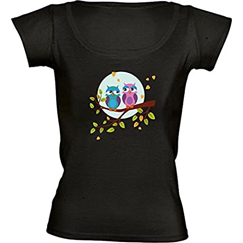 Camiseta Cuello Redondo para Mujer - Búhos Soñolientos En El Amor by eDrawings38