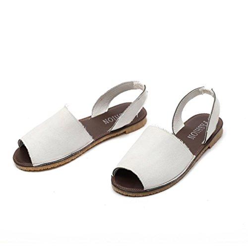 Sandali _ feixiang confortevoli estate donne pizzo tacco piatto espadrillas sandali - sandali ciabatte elegante da donna bocca di pesce sexy da donna scarpe da spiaggia (bianco, eu:40)