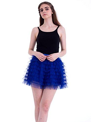 urz Tutu Tüllrock Petticoat Kleid Minirock Tütü Ballerina Tüll Rock Reifrock One Size Rötlich-Blau (Diy Halloween-kostüme Für Schwangere Frauen)