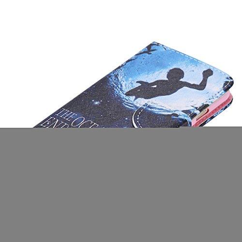 Ooboom® iPhone 5SE Coque PU Cuir Flip Housse Étui Cover Case Wallet Portefeuille Fonction Support avec Porte-cartes pour iPhone 5SE - Girafe Plongée