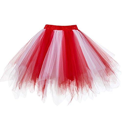 Honeystore Damen's Neuheiten Tutu Unterkleid Rock Ballet Petticoat Abschlussball Tanz Party Tutu Rock Abend Gelegenheit Zubehör Rot und Weiß