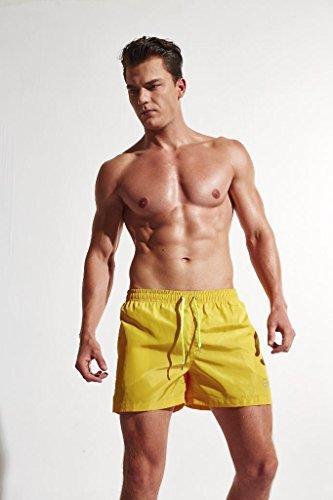 Arcweg Costumi Da Bagno Uomo/Ragazzi Regolabile Pantaloncini Da Bagno Mare Nuoto Spiaggia Asciugatura Veloce Boardshorts Con Taschino E Coulisse |bambini dai 12 anni|Taglia 36-44 Giallo