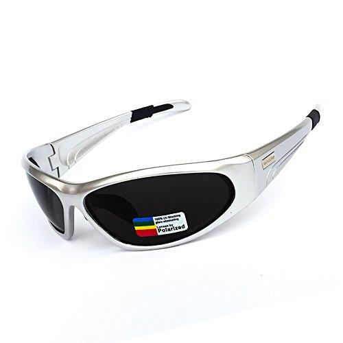 BOLLFO Polarisierte Sport Sonnenbrille, trinkbar und bequem, 100% UV Schutz, dauerhafter TR90 Rahmen, Fahren, Radfahren, Laufen, Angeln für Männer und Frauen (Silber, Grau)