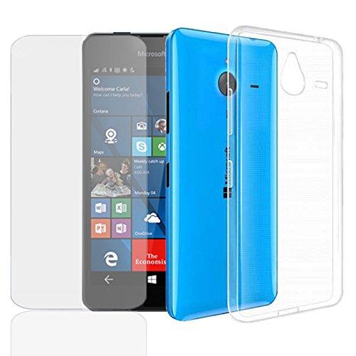 EximMobile Silikon Case + Panzerglasfolie für Microsoft Lumia 950 XL | Handyhülle mit 9H Panzerglas | Schutzhülle mit Schutzfolie | Handytasche Silikonhülle Tasche Hülle Panzerfolie Bildschirmschutz