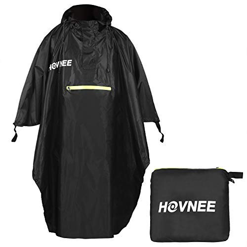 HOVNEE Rain Poncho, 100% Waterproof Multifunction Outdoor Rain Poncho, Suitable for Men/Women, Raincoat Rain Poncho, Hiking, Cycling, Camping and Festivals etc(L)