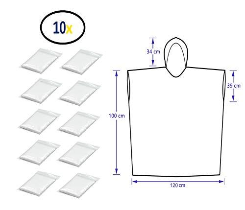 Thorani Regenponcho für Damen, Herren & Kinder 140-190 cm - kompakt und leicht - 10er Pack - Kinder-notfall-poncho