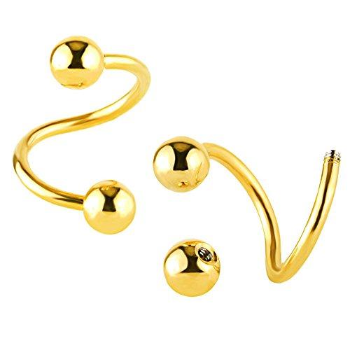 bodya 1x 16G S en acier inoxydable en spirale de sourcils oreille Cartilage/Helix/tragus/Labret Nez Anneaux Boucles d'oreilles Piercing Corps