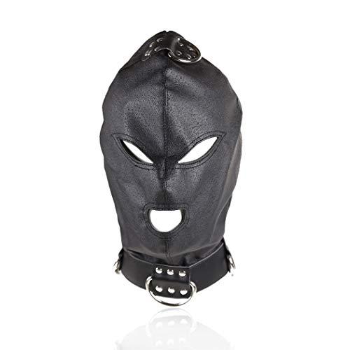 Kopfmaske Augenmaske sm Für Frauen Männer Leder mit öffnet Augen Mund,Bondage Geschirr Sex Erotik Fetisch Atmungsaktiv Sex Spielzeug Cosplay Für Anfänger Halloween Rollen Spielen