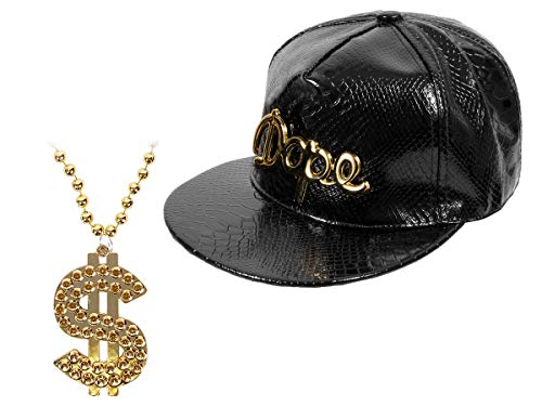 Alsino Rapper Kostüm Hip Hop Pimp Karneval Outfit (Kv-105) - goldene Dollar Bling Bling Kette mit Snapback Dope in Schwarz
