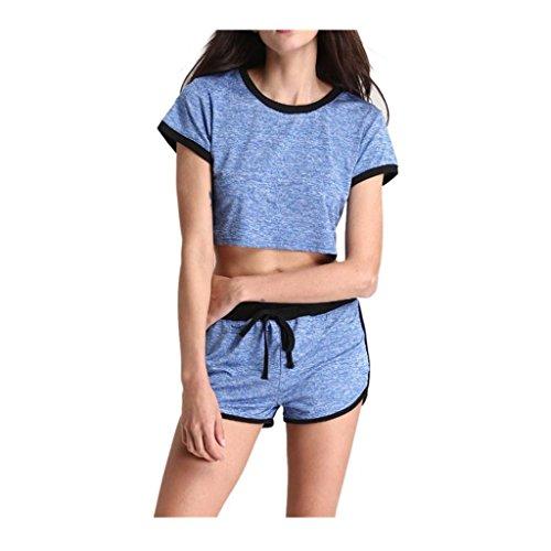 Sportkleidung VENMO Frauen Yoga Casual Athletic Gym Fitness Lose Shorts Set Blue