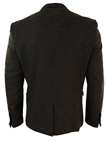 Veste Blazer hommes velours coupe slim svelte tweed chevrons Rétro vintage marron noir Marron