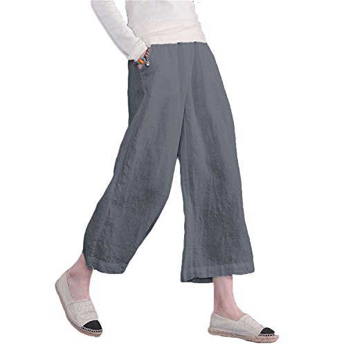 Ecupper Women's Casual Loose Plus Size Elastic Waist Cotton Trousers