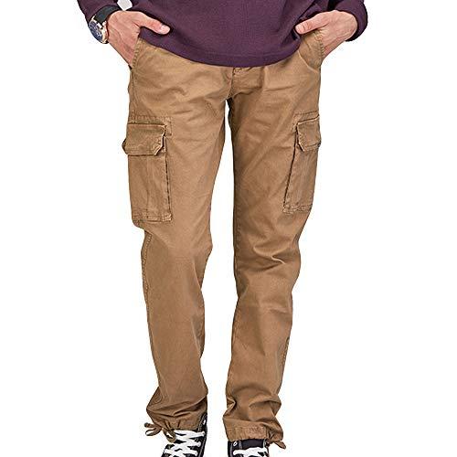 Yvelands Herren Sporthose Mode Pure Color Multi Pocket Lässige Outdoor Overalls Taktische Hosen Jeanshosen(EU:78,Gelb)