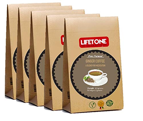 Ingwer Koriander Kardamom Kaffee   Yoga Kaffee   Kaffeebohnenmischung mit Kardamom, Koriander, Ingwer, Nelke, Pfeffer und Zimt 100 Beutel 200g   Entgiftungskaffee   Stressabbau Kaffee
