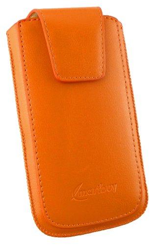 """Emartbuy® Sleek Serie Gelb Luxury PU Leder Tasche Hülle Schutzhülle Case Cover ( Größe 3XL ) mit Ausziehhilfe geeignet für Apple Iphone 6 6G 6S 4.7 """" Zoll Orange Sleek Serie Hülle"""