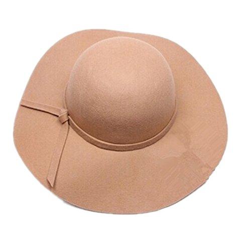 Partiss Vintage Wide Brim Chapeau melon feutre Beige - Light Camel
