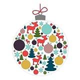 Sticker Boule de Noël Rennes (15,5x20cm) Lot de 2 - Autocollant-Adhesif de Noël pour Vitre ou Surface Murale